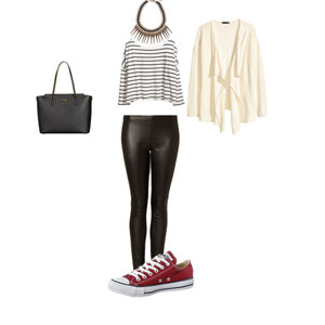 Outfit leather combined with converse  von buyfashion