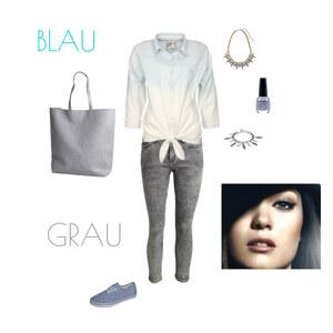 Outfit Grau und Blau von HD