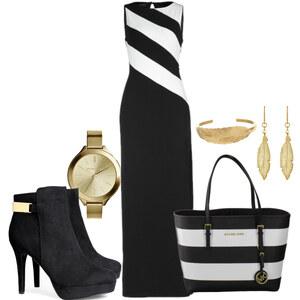 Outfit Maxikleider mit gold von patricia