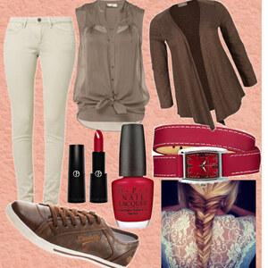 Outfit Elegant in Braun&Rot von Lisa Bunzel
