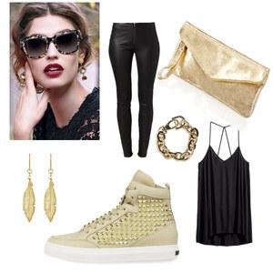 Outfit Schwarz gold von Styless