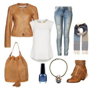 Outfit New Boho Look in Beige, Blau und Weiß von Annik