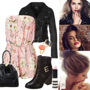 Outfit -Lederjacke & Blumen- von -lia-
