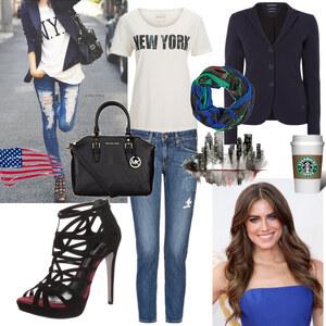 Outfit lässig durch NY von Claudia Giese