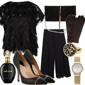 Outfit Schwarzgold von FashionEule