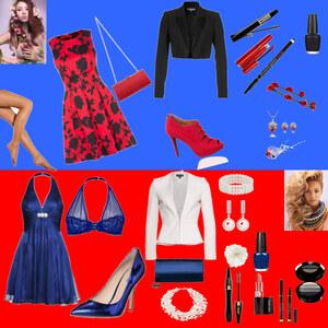 Outfit Rot Schwaz & Blau Weiß von Charliee