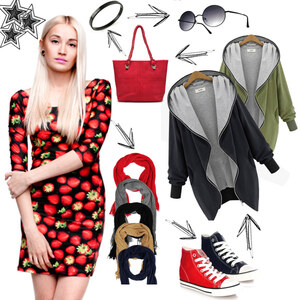 Outfit Black and Red von Lesara