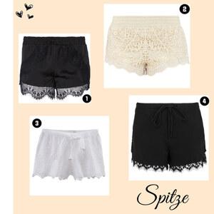 Outfit Spitzen-Shorts von domodi