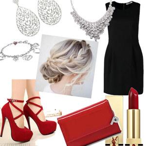 Outfit Rot, schwarz, silber  von Jeanine