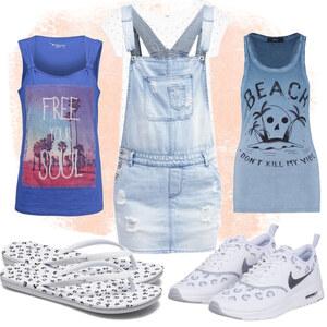 Outfit Weiß-Blau  von CC-Fashion