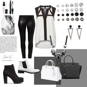 Outfit schwarz und weiß von selinavolk