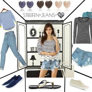 Outfit Perfekter Casual Style = Streifen & Jeans von Lesara