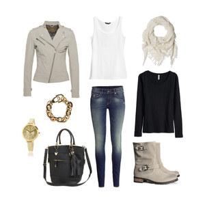 Outfit BeigeGold-Schwarz Herbst von Jessi