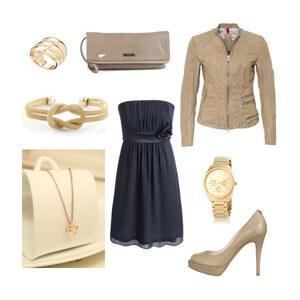 Outfit Beige-Navy Ausgehen/Party von Jessi