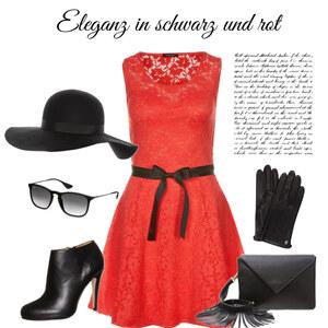 Outfit Eleganz in schwarz und rot von mathilde.vadde