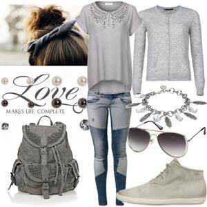 Outfit Grau style <3 von Nisa