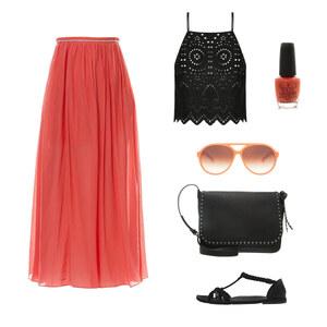 Outfit Oranger Maxi Rock von Ele - Fashion Addict
