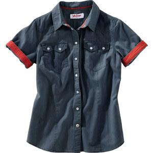 John Baner JEANSWEAR Jeanshemd mit farbigen Manschetten, Kurzarm in schwarz von bonprix