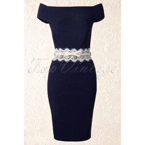 Paper Dolls Bardot Off Shoulder Pencil Dress in Navy and Cream