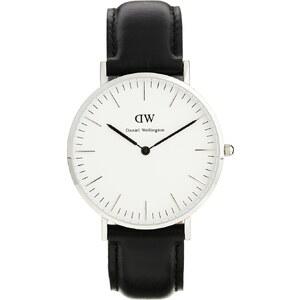 Daniel Wellington - Sheffield - Grande montre classique à bordure argentée et bracelet noir - Noir