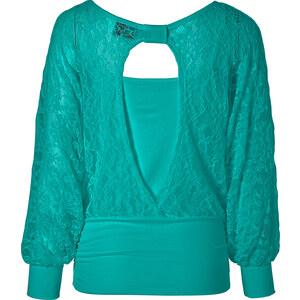 RAINBOW Spitzen-Pullover langarm in grün für Damen von bonprix