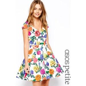 ASOS PETITE - Exklusives Bardot-Kleid mit buntem Blumenmuster - Druck