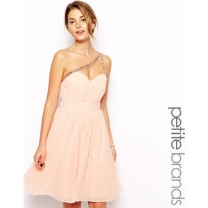 Little Mistress Petite – Verziertes One-Shoulder-Ballkleid