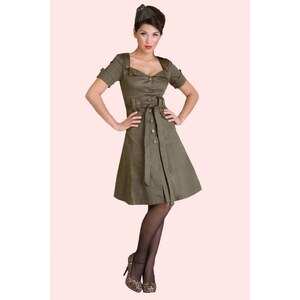 Vixen 40s Retro Military Khaki A line dress