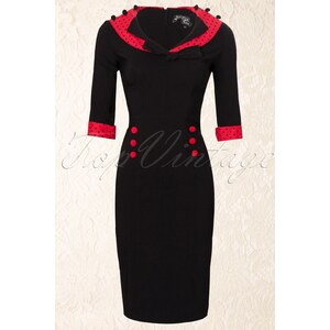 Bunny 50s Thelma Pencil Dress Black Red polka