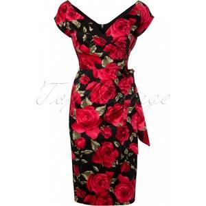 The Pretty Dress Company Hourglass Sorento Black Floral Vintage Pencil dress