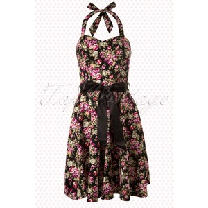 Amy 50s Sally Small Floral Black Swing Dress