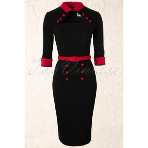 Bunny 50s Clara Pencil Dress in Black