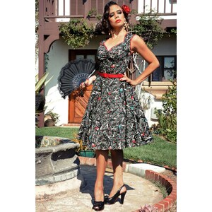 Pinup Couture Heidi Vintage Spanish Fan Dress in Black