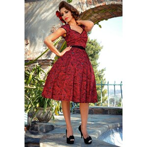 Pinup Couture Heidi Vintage Spanish Fan Dress in Red