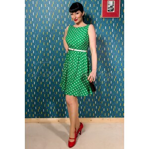 Sweetie 50s Swing Dress in Green with Cream Dots
