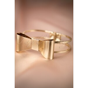 From Paris with Love! 60s Gold Statement Bow Bangle Bracelet