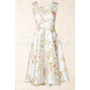 Unique Vintage 50s High Society Floral Swing Dress Ivory