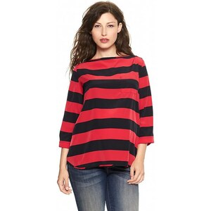 Gap Striped Pocket Three Quarter Sleeve Top - Navy red stripe
