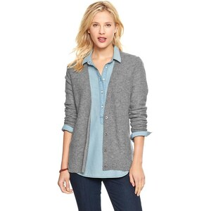 Gap Circle Hem Elbow Patch Cardigan - Charcoal