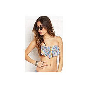 FOREVER21 Bandeau-Bikinioberteil mit Volants