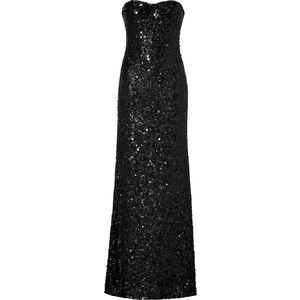 Jenny Packham Black Allover Sequined Strapless Gown