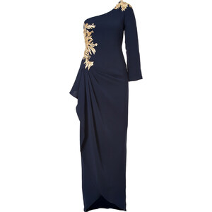Marchesa Silk Embellished One Shoulder Gown in Navy