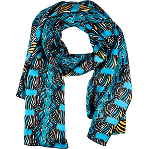Issa Capri Blue/Honey Four Zebras Print Silk Scarf