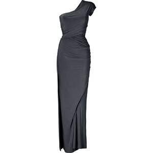 Donna Karan Carbon One Shoulder Draped Jersey Gown