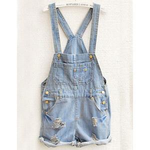 Sheinside Sky Blue Overalls Pocket Jumpsuit