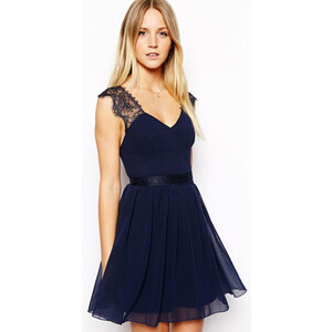 Sheinside Blue Contrast Lace Backless Chiffon Dress