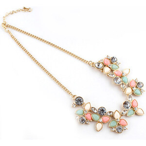 Sheinside Pink Gemstone Gold Leaves Chain Necklace