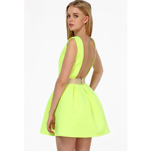 Sheinside Neon Green Sleeveless Backless Flare Dress