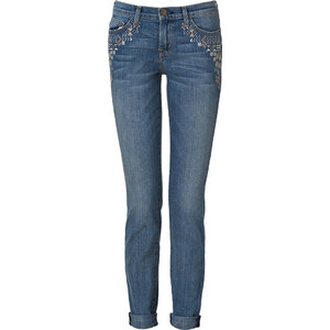 Current/Elliott The Rolled Skinny Jeans in Super Loved & Embroidery