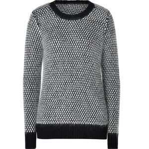 DKNY Black/White Wool-Mohair Knit Pullover